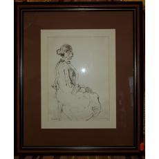 "TABLOU, TRAIAN BRADEAN ""PROFIL DE FEMEIE"", 1986, Dimensiuni: 28cm. X 20,5cm."