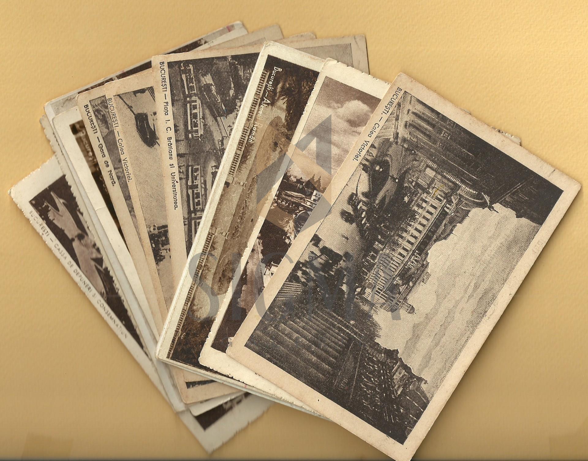 """Lot 12 Carti Postale """"BUCURESTI"""", 1925-1944, Alb/Negru si Sepia, CP-Circulate si Necirculate!"""
