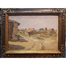 "TABLOU, AUREL BAESU ""PEISAJ CU CASE"", U/C, 1916"