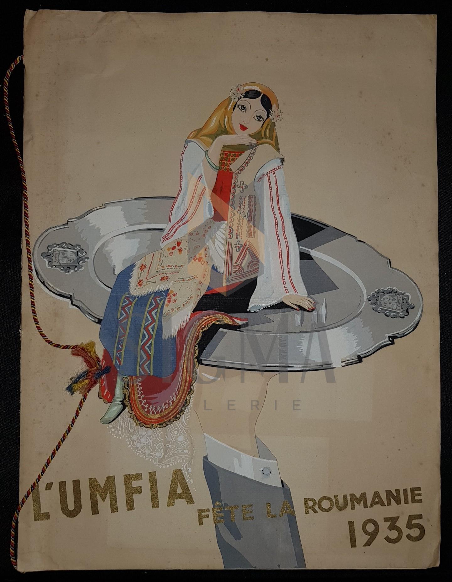 MENIU, L'UMFIA FETE LA ROUMANIE 1935 (Ce II Avril 1935, Palais D'Orsay), Cromolitografie (Posibil LENA CONSTANTE!)