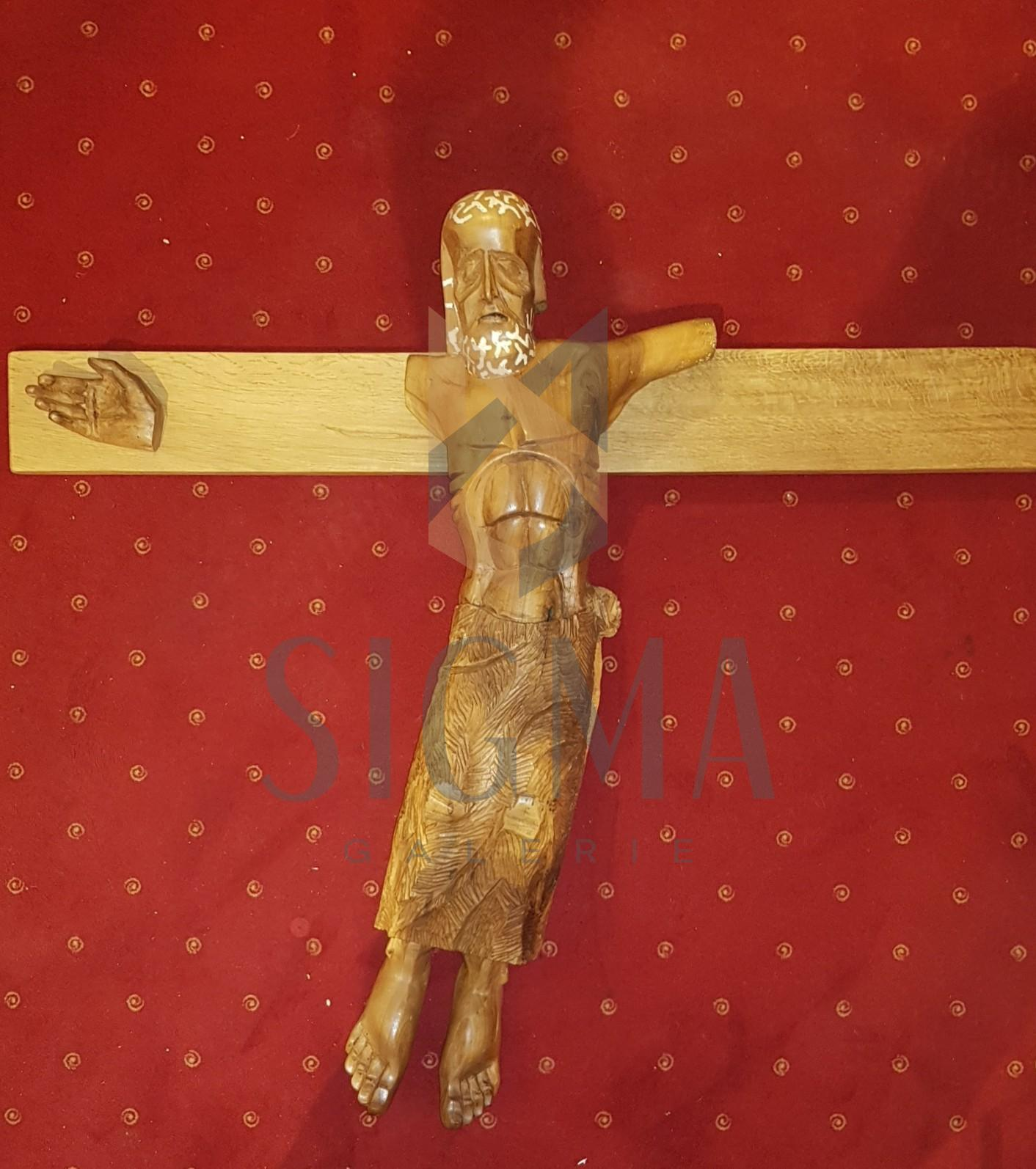 "SCULPTURA, STEFAN CALARASANU ""ISUS RASTIGNIT"", Sculptura In Lemn, 2003"