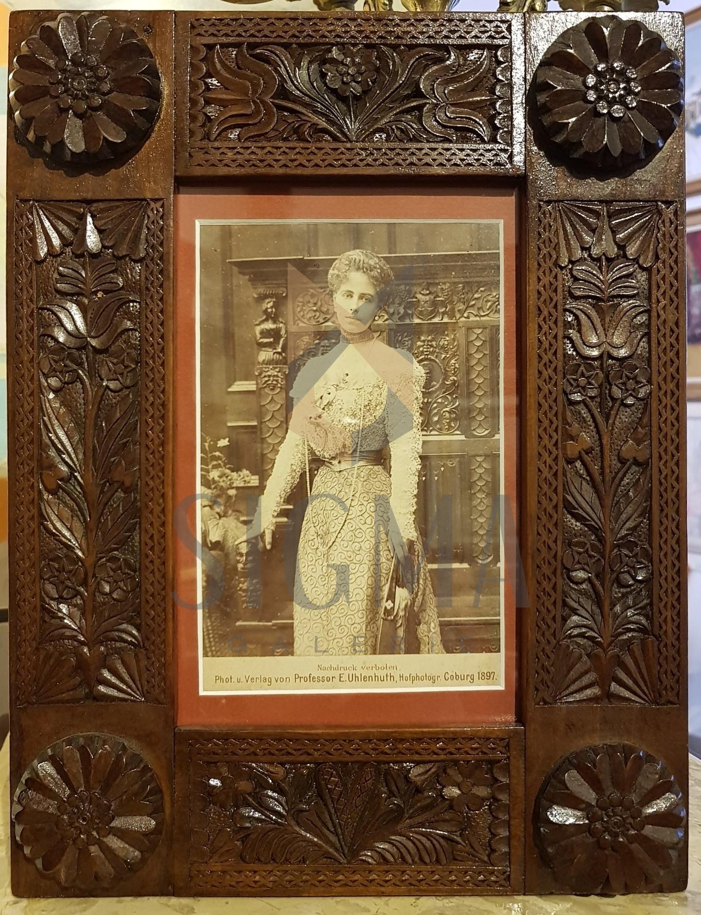 REGINA MARIA A ROMANIEI, FOTOGRAFIE DE CABINET ORIGINALA IN RAMA NEOBRANCOVENEASCA, 1897