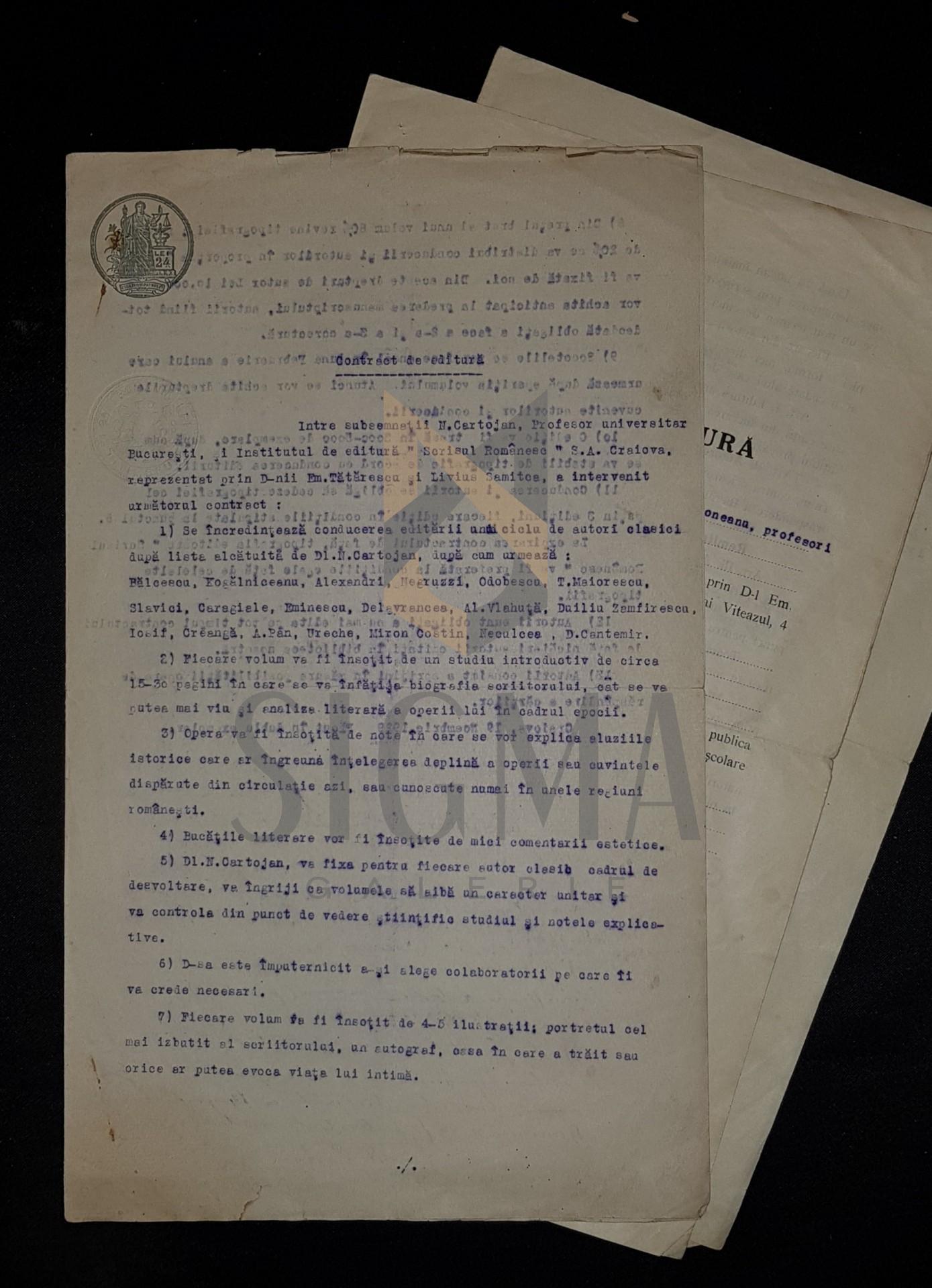 LOT DOCUMENTE, CONTRACT DE EDITURA NICOLAE CARTOJAN si A. RADULESCU-POGONEANU (Profesori Universitari), 1929-1936, Craiova