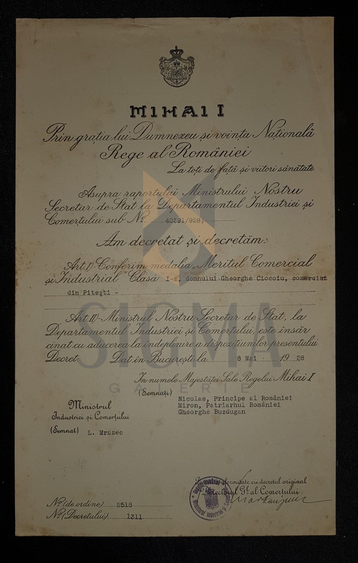 "BREVET, REGELE MIHAI I ""MERITUL COMERCIAL SI INDUSTRIAL"" CLASA I-A, FARMACIST DIN PITESTI, 1928"