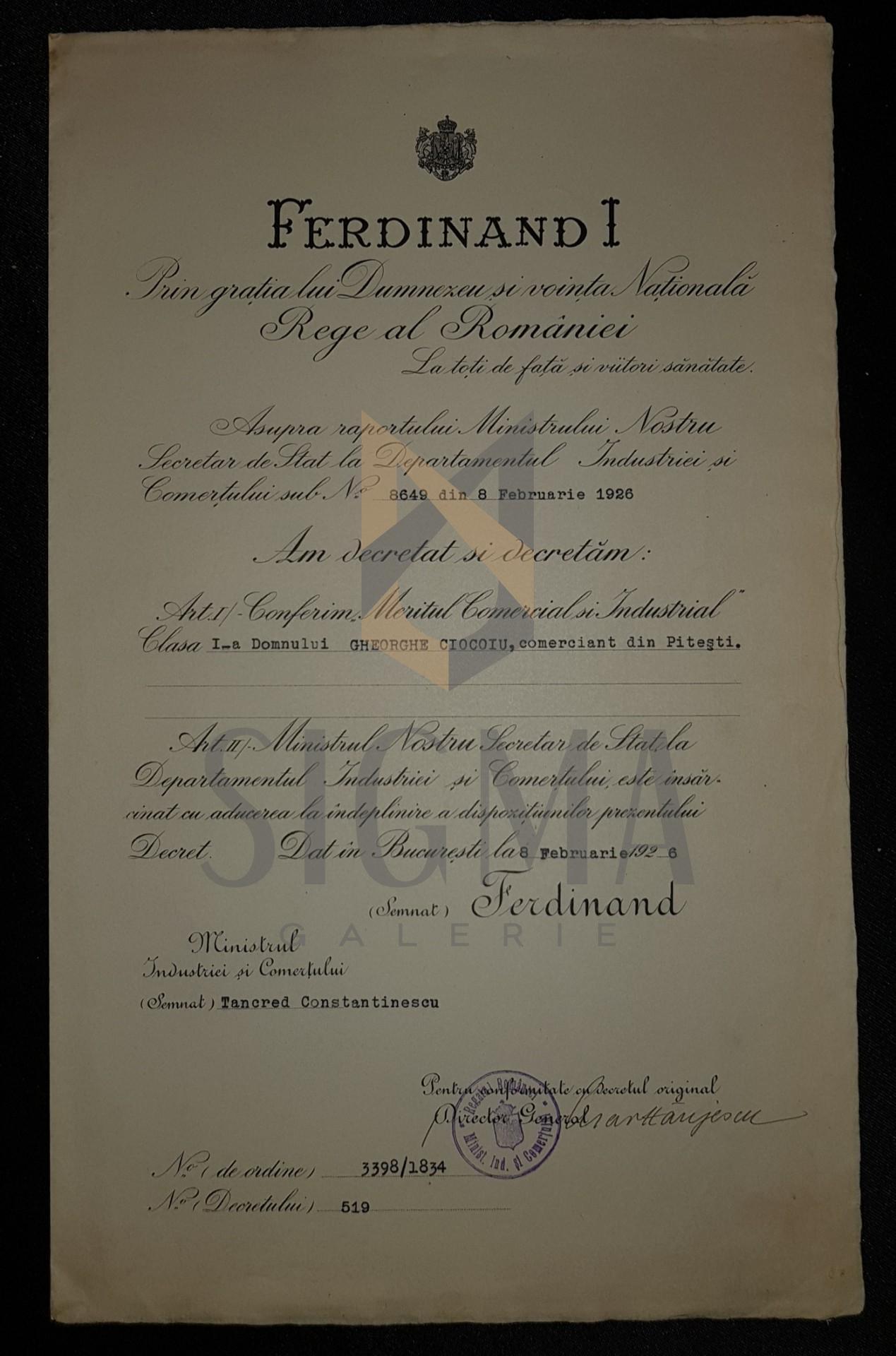 "BREVET, REGELE FERDINAND I ""MERITUL COMERCIAL SI INDUSTRIAL""  CLASA I-A, FARMACIST DIN PITESTI, 1926"