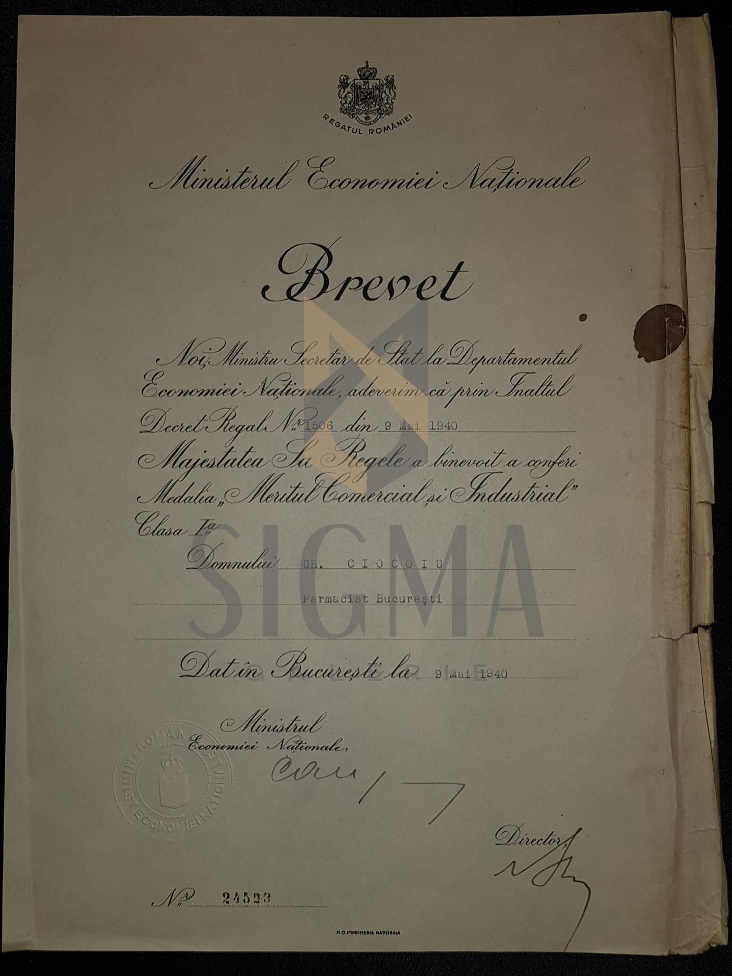 """BREVET, REGELE MIHAI I, MINISTERUL ECEONOMIEI NATIONALE, MEDALIA """"MERITUL COMERCIAL SI INDUSTRIAL CLASA I-A"""", FARMACIST DIN BUCURESTI, 1940"""