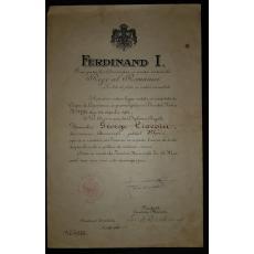 DIPLOMA REGALA, REGELE FERDINAND I, CETATENIE (SEMNATURI I.I.C. BRATIANU SI N. SUTU), 16 MAI 1916