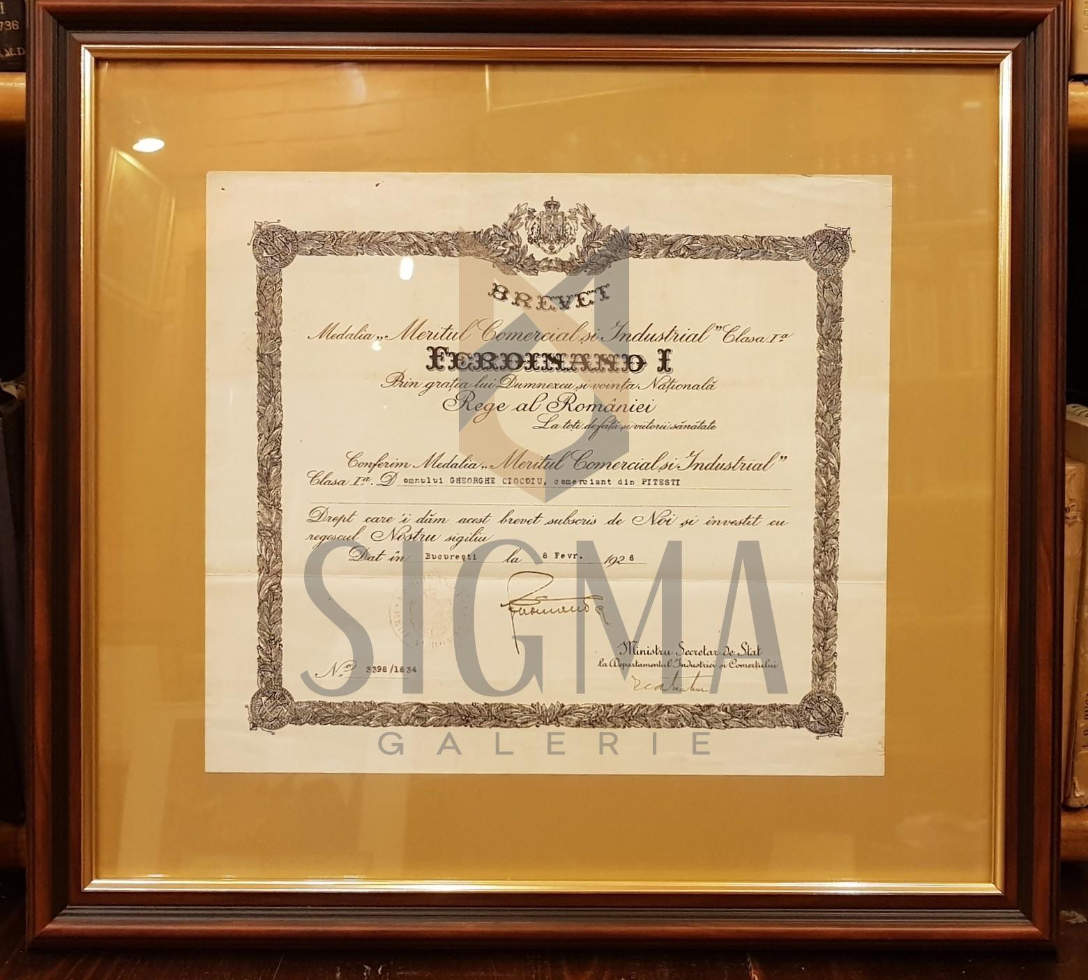 "REGELE FERDINAND I, BREVET, MEDALIA ""MERITUL COMERCIAL SI INDUSTRIAL"" Clasa I-a, 1926, Bucuresti (Semnatura In Original !)"