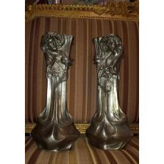 PERECHE DE VASE, ART-NOUVEAU, FRANTA, Semnate FLORAN, H: 42,5cm., cca 1900