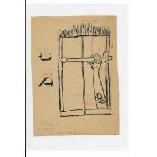 """MILITA PETRASCU, Desen (Proiect pentru Volumul de Poezii """"ZAVOR"""" de BARBU BREZIANU), 1947, Tus pe Hartie"""