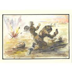 ION HAGIESCU, AL DOILEA RAZBOI MONDIAL - 1944, ACUARELA