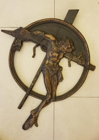 SCULPTURA, ION MANDRESCU, CHRIST, ( lucrare autentificata de artist ! ) bronz - basorelief
