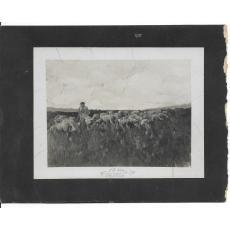 FOTOGRAFIE ORIGINALA, TABLOU STEFAN LUCHIAN, -PASTOR CU OI- ( REVISTA LUCEAFARUL) 1908