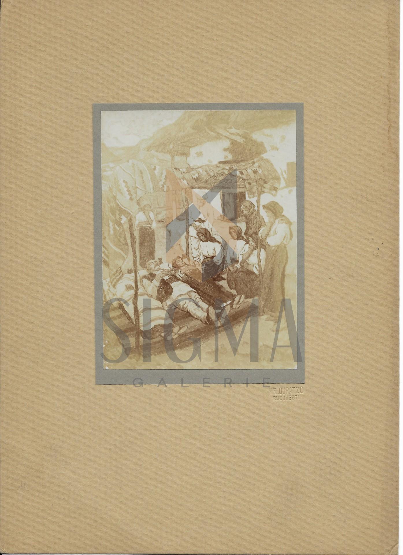 """FOTOGRAFIE ORIGINALA, TABLOU STEFAN DIMITRESCU """" URMA BOMBARDAMENTULUI""""  ( REVISTA LUCEAFARUL) 1919"""
