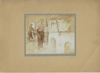 "FOTOGRAFIE ORIGINALA, TABLOU RESSU - "" FIERARIE ""  ( REVISTA LUCEAFARUL) 1919"