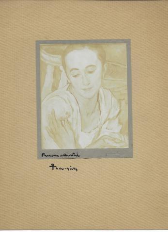 FOTOGRAFIE ORIGINALA, TABLOU TEODORESCU - SION  - FRUMOASA ALBASTREA ( REVISTA LUCEAFARUL) 1919