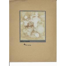 FOTOGRAFIE ORIGINALA, TABLOU TEODORESCU - SION  - NATURA STATICA  ( REVISTA LUCEAFARUL) 1919