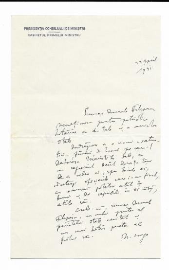 DOCUMENT, SCRISOARE, NICOLAE IORGA CATRE GR. N. FILIPESCU, 1931