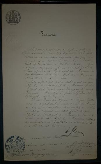 DOCUMENT, PROCURA, SEMNAT DE ION GHICA , PROCES - EPISCOP DE RAMNIC, 1878