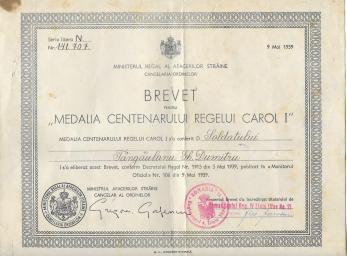 """BREVET """"MEDALIA CENTENARULUI REGELUI CAROL I"""", 1939"""