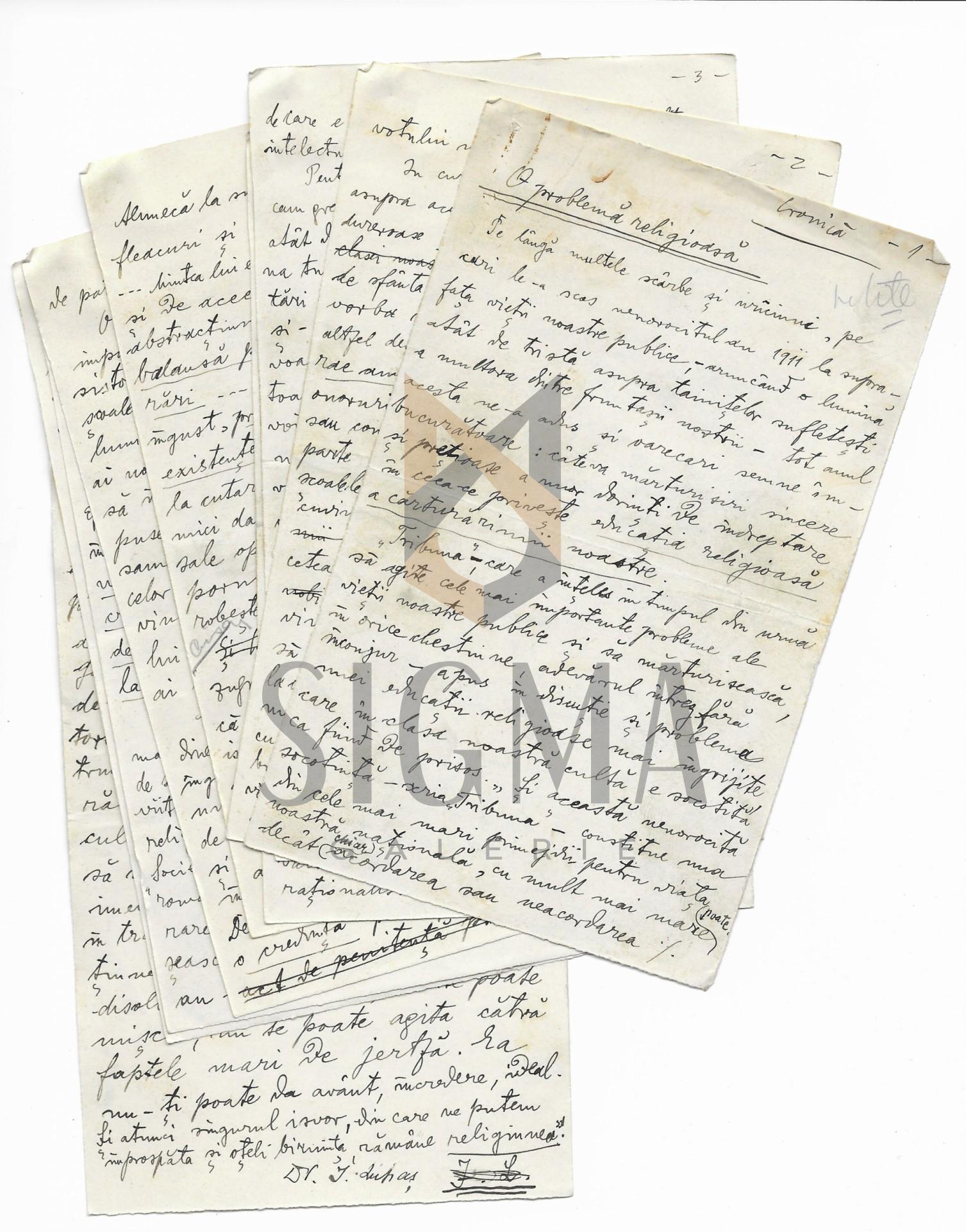 """MANUSCRIS-DOCUMENT, IOAN LUPAS """"O PROBLEMA RELIGIOASA"""", Aparut In Revista """"LUCEAFARUL"""", 1912 la Sibiu"""