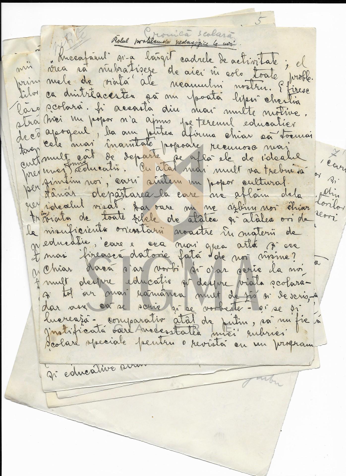 "MANUSCRIS-DOCUMENT, ONISIFOR GHIBU ""CHESTIUNI SI PROBLEME SCOLARE"", Aparut In Revista ""LUCEAFARUL"", 1912 la Sibiu"