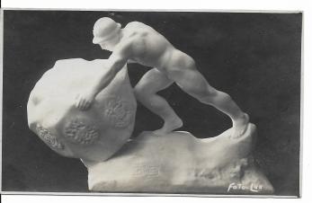 """CARTE POSTALA, TEODOR ( THEODOR ) BURCA SCULPTOR, lucrarea """" Mutarea granitelor ' , EXECUTATA IN 1925"""