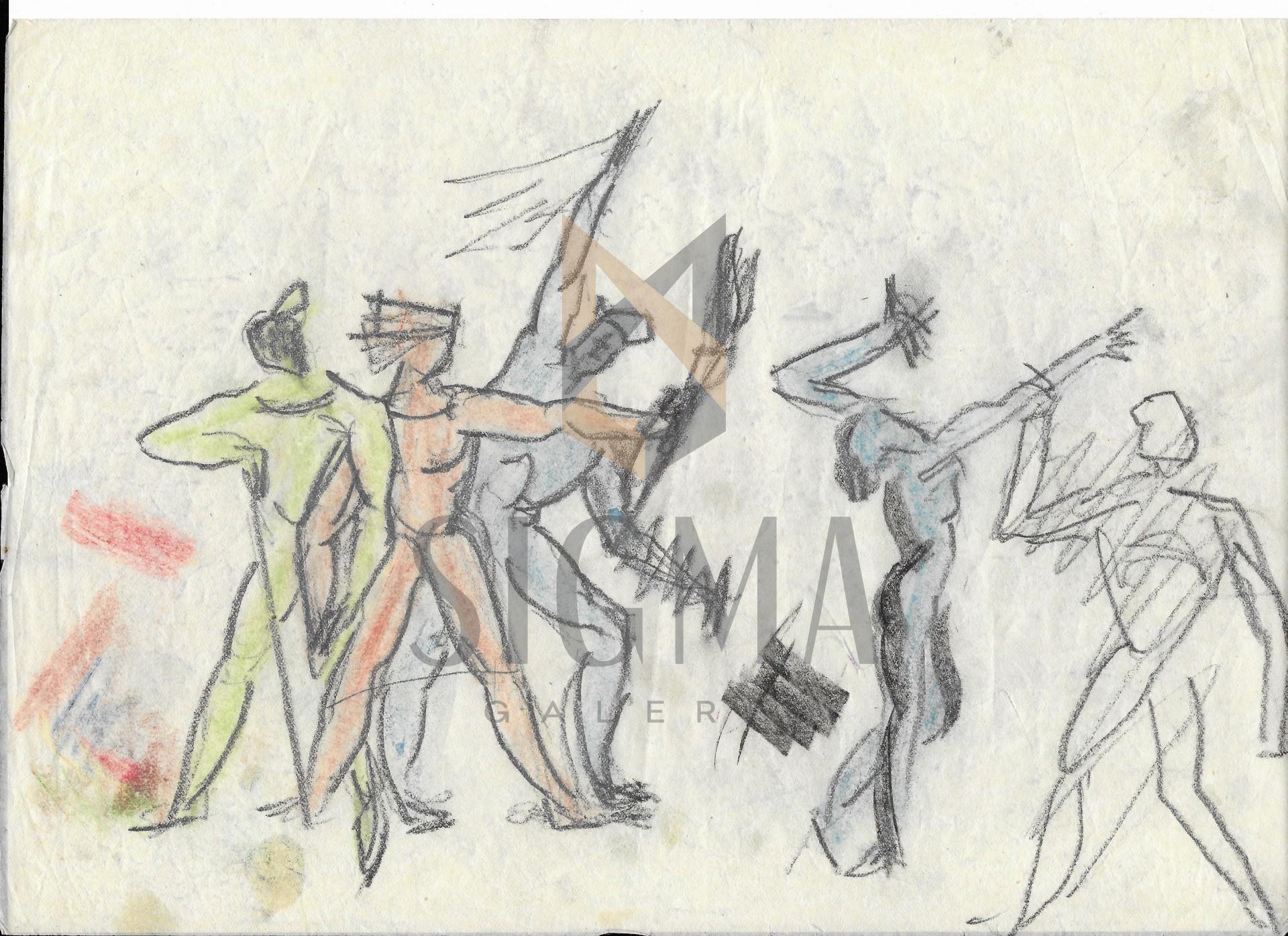 MARCEL GUGUIANU, STUDII, Creioane Colorate