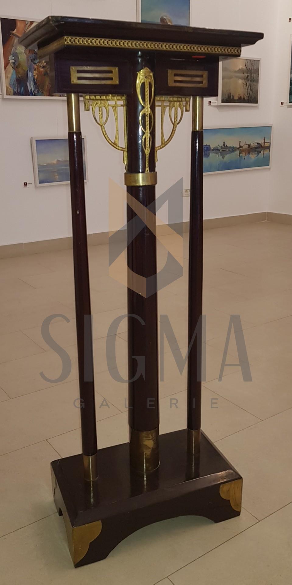 PIEDESTAL ART-NOUVEAU JUGENSTIL, LEMN SI BRONZ, H- 103 CM