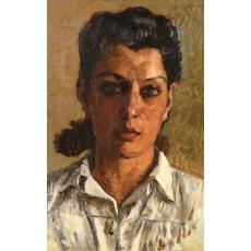 Tablou, OTTO BRIESE, Portret Maria Briese  ulei pe carton, 48 x 28 cm datat 1944,  semnat dreapta jos Briese