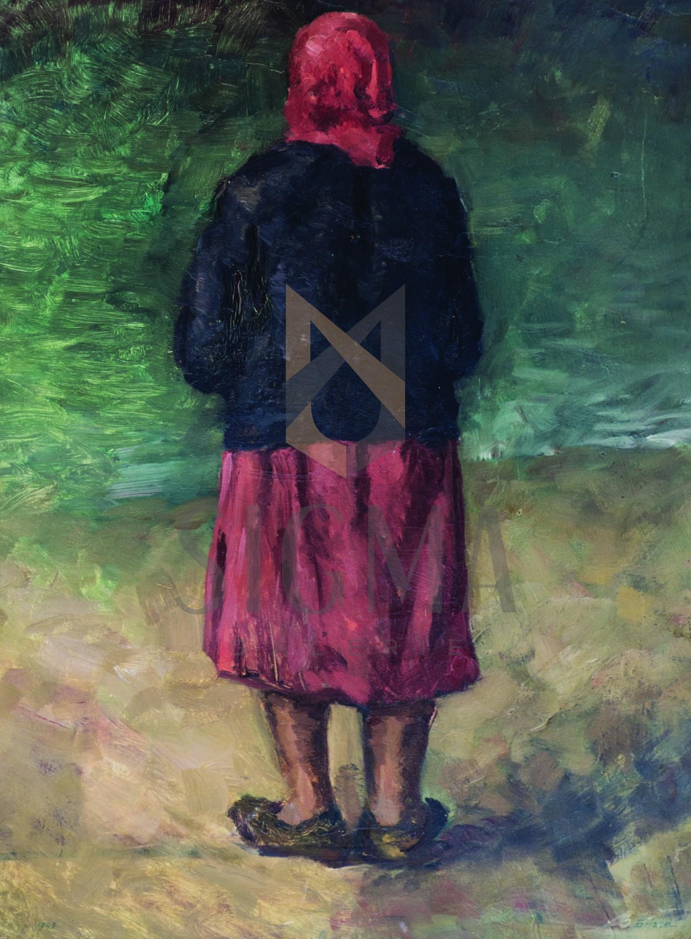 "Tablou, Otto Briese, ""Evdochia la malul mării"",  ulei pe carton | 67 x 46 cm datat 1948 | semnat dreapta jos Briese"