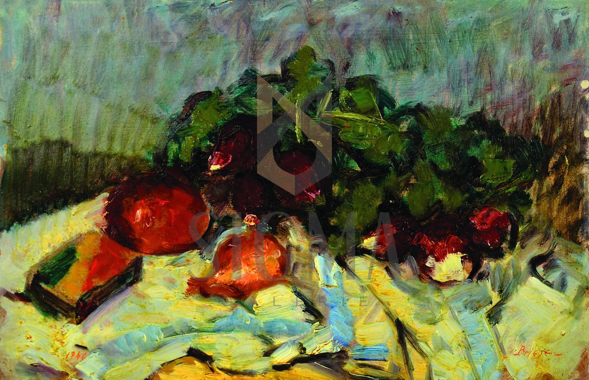 Tablou, OTTO BRIESE, Pe masă în bucătărie  ulei pe carton | 27 x 41,5 cm datat verso 1946 | semnat dreapta jos Briese