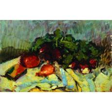 Tablou, OTTO BRIESE, Pe masă în bucătărie  ulei pe carton   27 x 41,5 cm datat verso 1946   semnat dreapta jos Briese