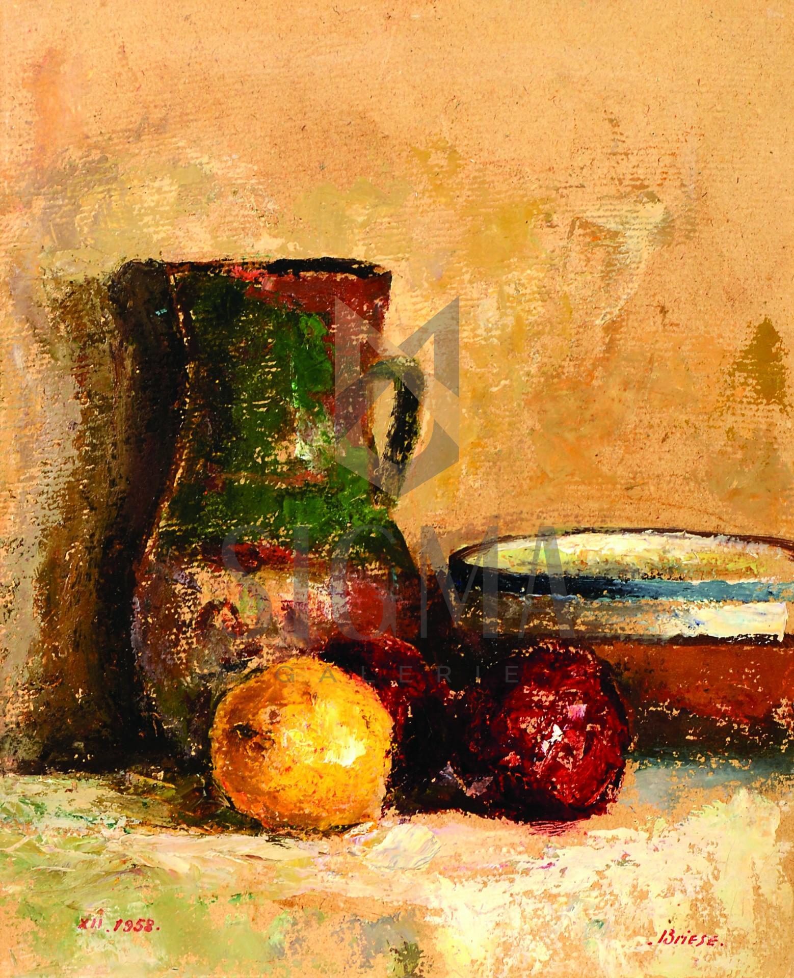 """Tablou OTTO BRIESE """"Natură  statică cu vase de lut""""  ulei pe carton, 41 x 33 cm datat 1958, semnat dreapta jos Briese"""