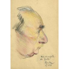 """TABLOU, Corneliu Baba, """"Portretul lui Otto Briese""""  creioane colorate, 1948"""