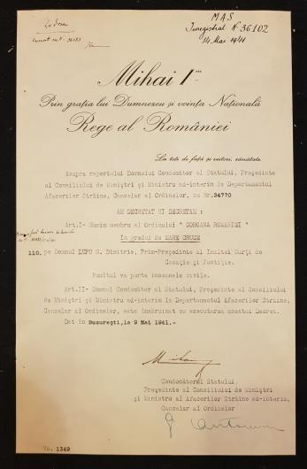 """REGELE """"MIHAI I"""" si """"MIHAI ANTONESCU"""" (Ministrul Afacerilor Straine), Document de Cancelarie, Bucuresti, 9 Mai 1941 (Semnaturi In Original !)"""