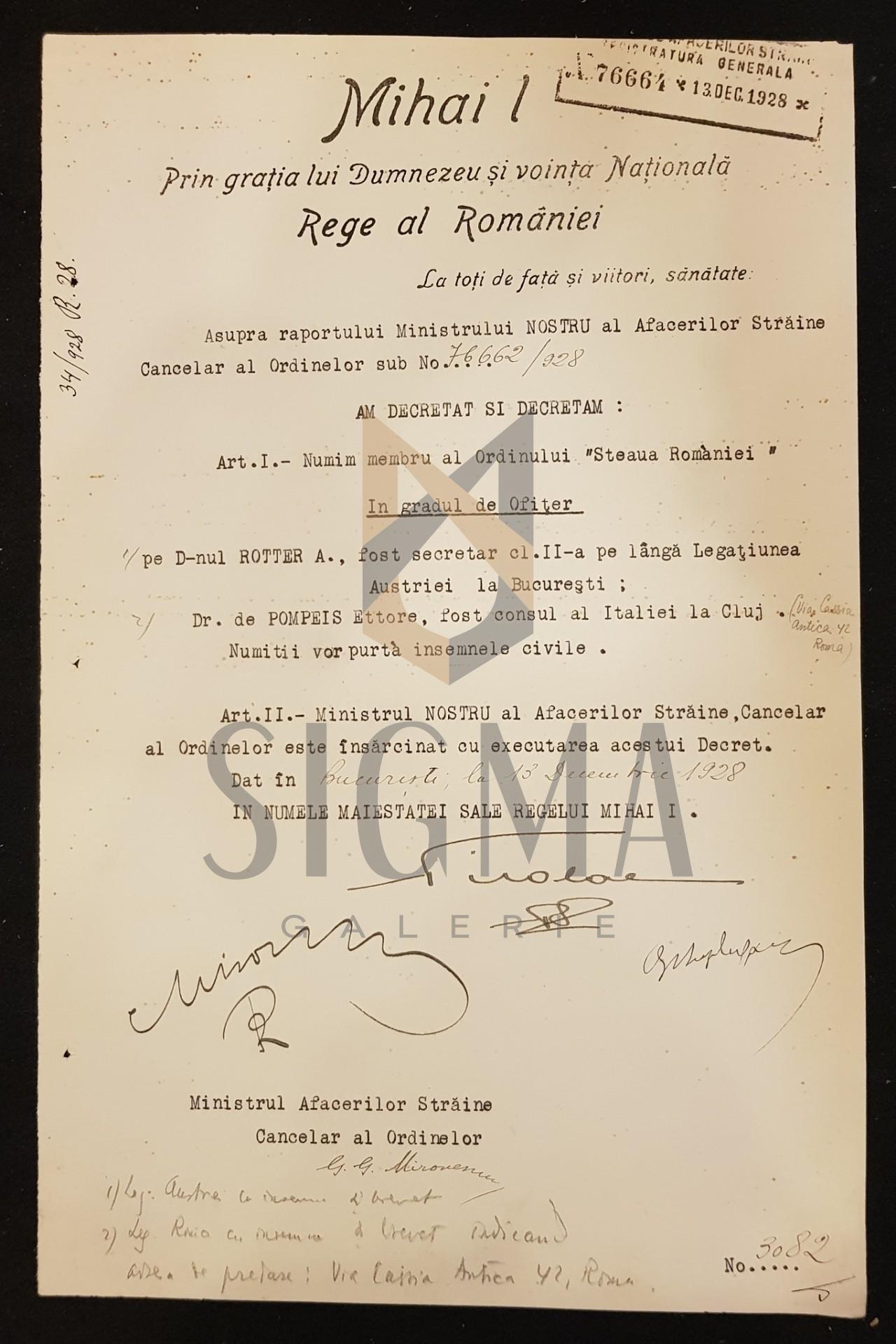 Brevet REGELE MIHAI I, MIRON CRISTEA, BUZDUGAN, DOCUMENT DE CANCELARIE, SEMNATURI ORIGINALE, CRIZA DINASTICA - REGENTA, 1928