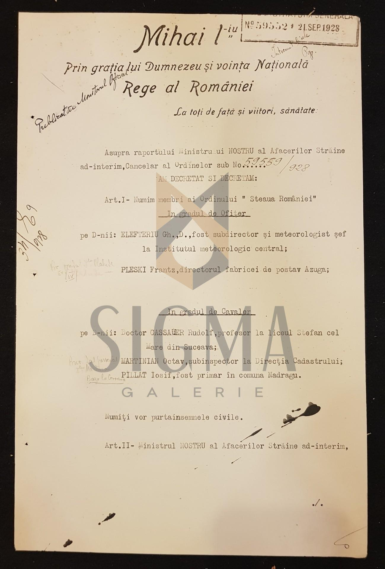 Brevet REGELE MIHAI I, MIRON CRISTEA, GHEORGHE BUZDUGAN, CONSTANTIN ARGETOIANU, DOCUMENT DE CANCELARIE, SEMNATURI ORIGINALE, CRIZA DINASTICA - REGENTA, 1928