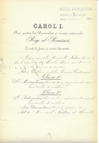 DOCUMENT DE CANCELARIE, REGELE CAROL I si MINISTRUL AFACERILOR STRAINE P. P. CARP (SEMNATURI ORIGINALE !), 1888
