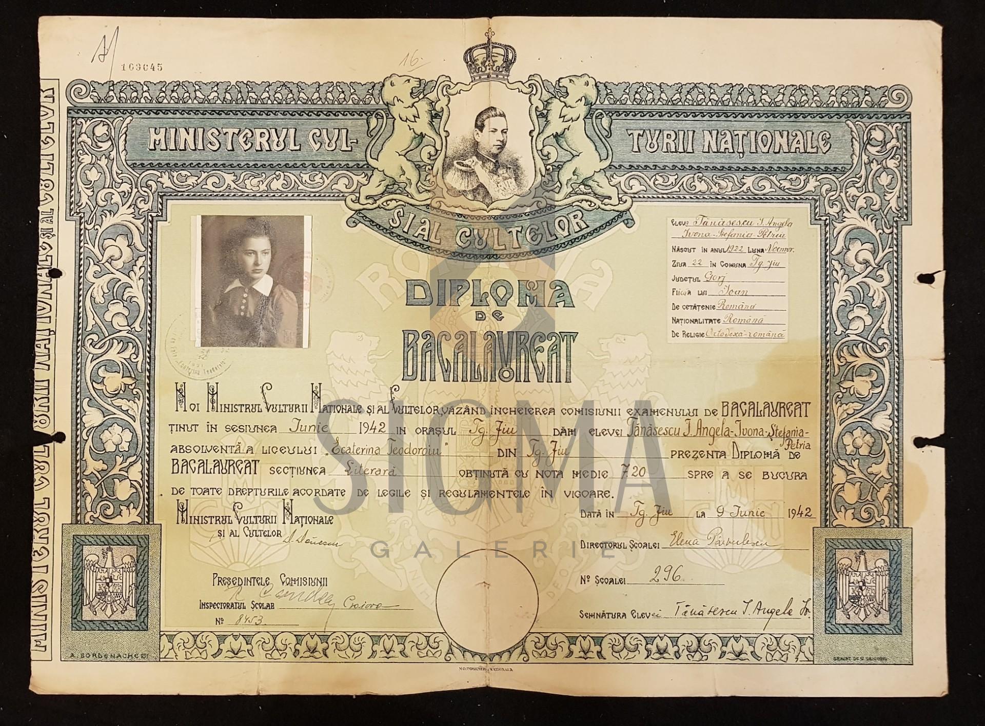 """DIPLOMA DE BACALAUREAT, Sectiunea Literara a Liceului """"ECATERINA TEODOROIU"""" din Targu-Jiu, 9 Iunie 1942"""