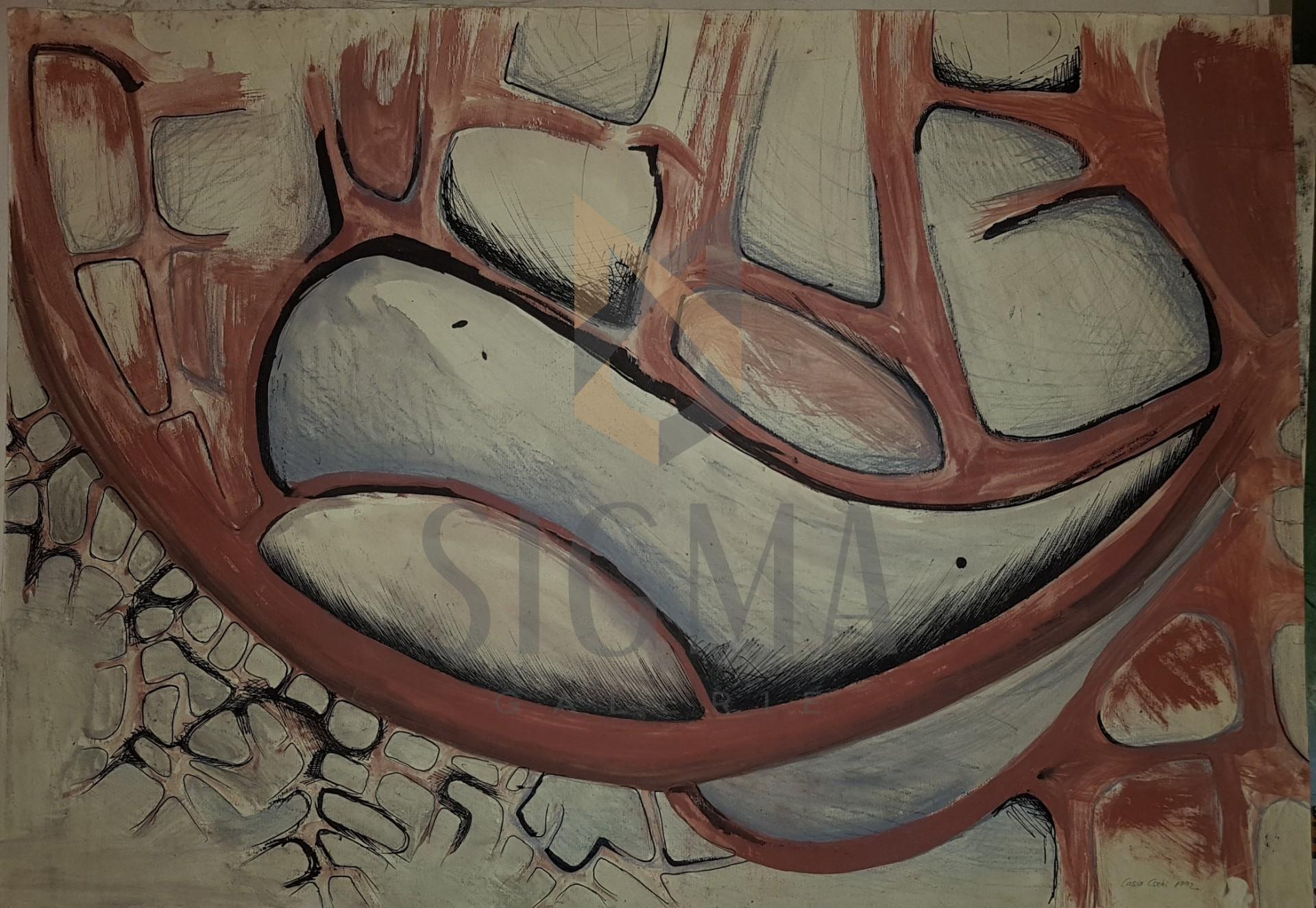 "CASIA CSEHI, "" COMPOZITIE  II ""   , grafica, tus sI acuarela, 1992"