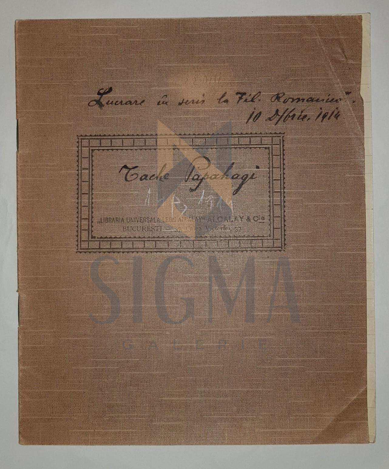 """MANUSCRIS, TACHE PAPAHAGI, """" FILOLOGIE ROMANICA - FONETICA GRUPURILOR DE CONSOANE SI A CONSOANELOR DUBLE """" """", 1914"""