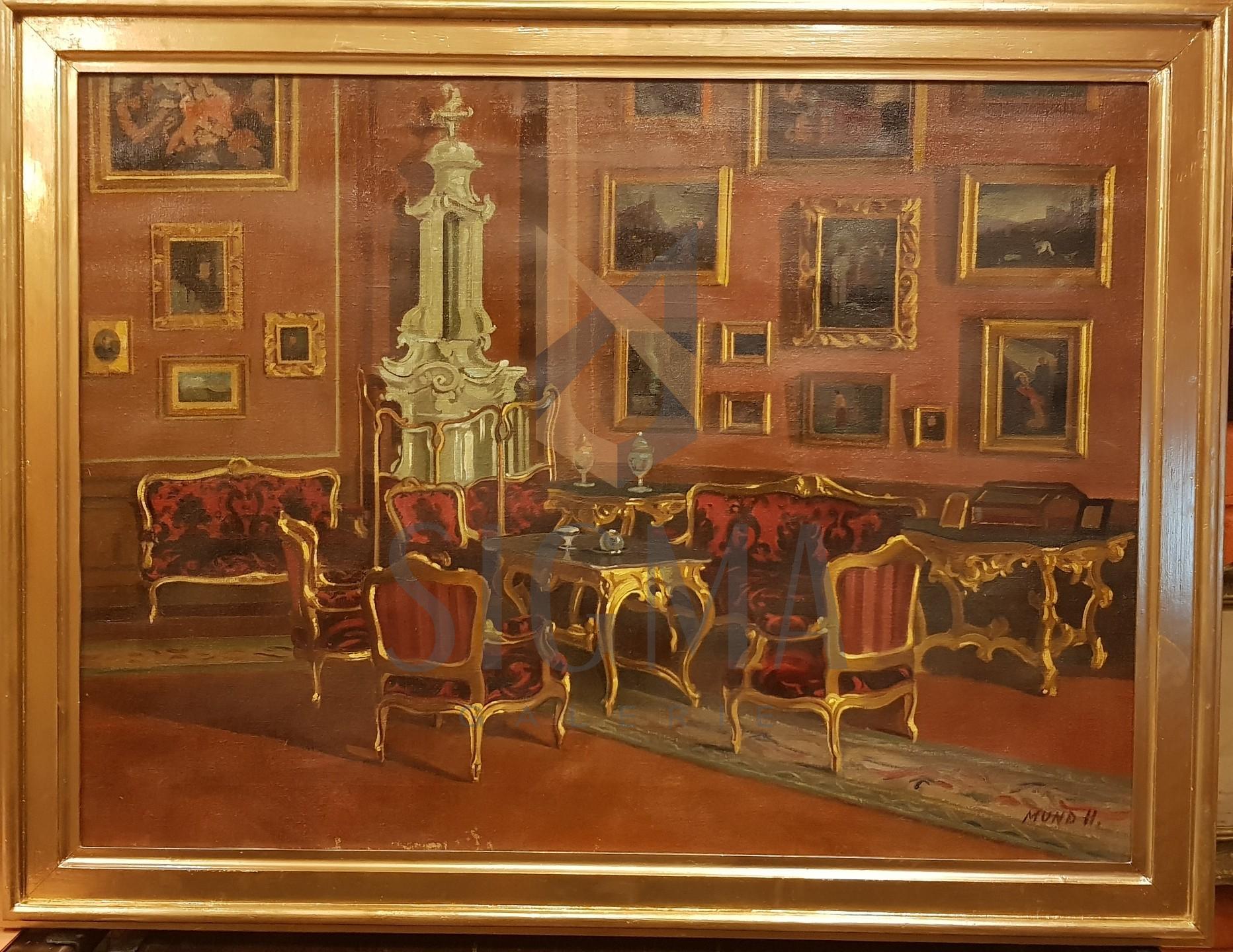 TABLOU, HUGO MUND ( 1892-1961 ), INTERIOR BOIERESC , U/ P ( Scoala de Baia Mare )