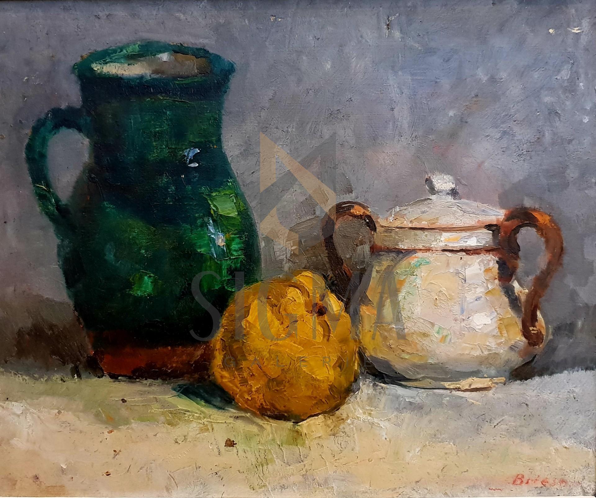 "Tablou OTTO BRIESE ""Vasul verde si gutuia""  ulei pe carton, 38 x 46 cm datat 1937, semnat dreapta jos Briese"