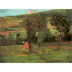 "Tablou OTTO BRIESE ""Peisaj de vara""  ulei pe panza, 30 x 40 cm datat 1912, semnat dreapta jos Briese"