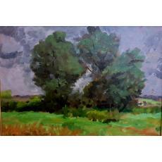 "Tablou OTTO BRIESE ""Margine de padure la Faget""  ulei pe carton, 30 x 42 cm datat 1944, semnat dreapta jos Briese"