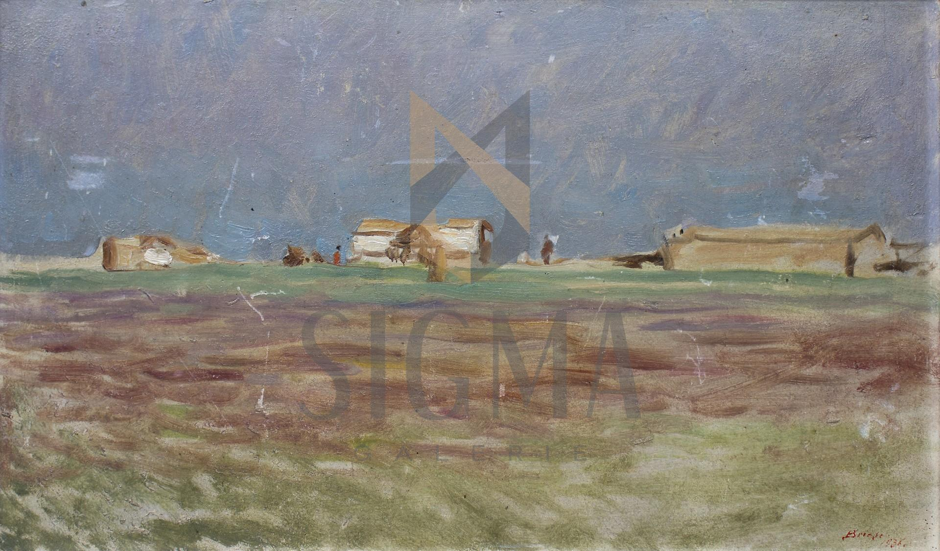 "Tablou OTTO BRIESE ""Peisaj la Burgas""  ulei pe carton, 33 x 54 cm datat 1936, semnat dreapta jos Briese"