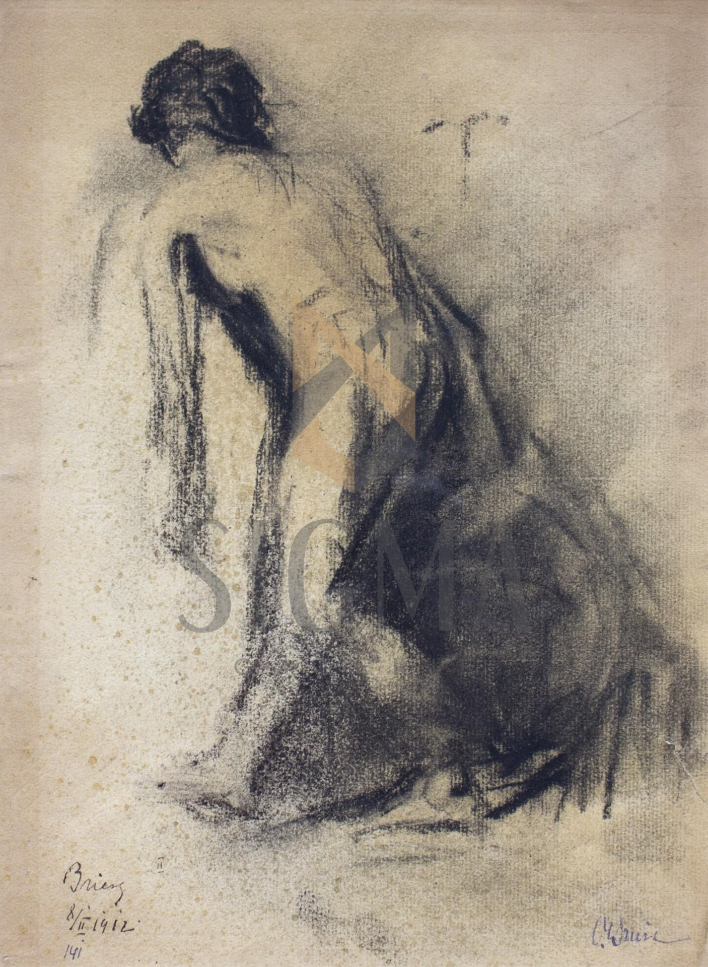"Tablou OTTO BRIESE ""Studiu""  carbune pe hartie, 30 x 21 cm datat 1912, semnat dreapta jos Briese"
