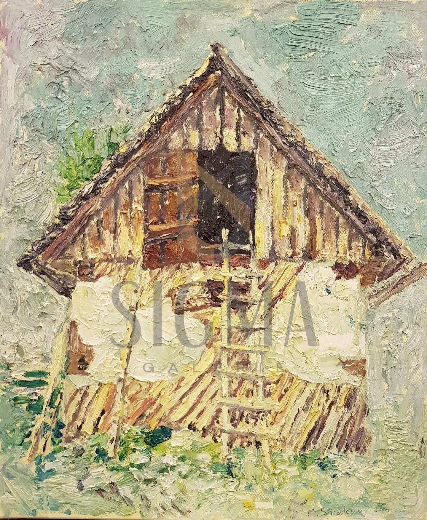 """TABLOU, MIHAI SARBULESCU """" CASA TARANEASCA"""" U/P,  ( 60 cm x 50 cm ), 2010"""