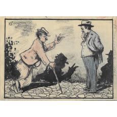"""B'ARG ( Ion Barbulescu ) , """" DE CE NU M-ASI CLATINA"""" grafica pt Ziarul  DIMINEATA , 1933"""